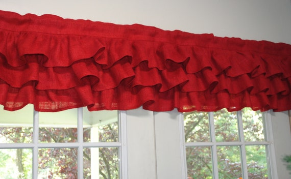 Red Burlap Ruffled Valence