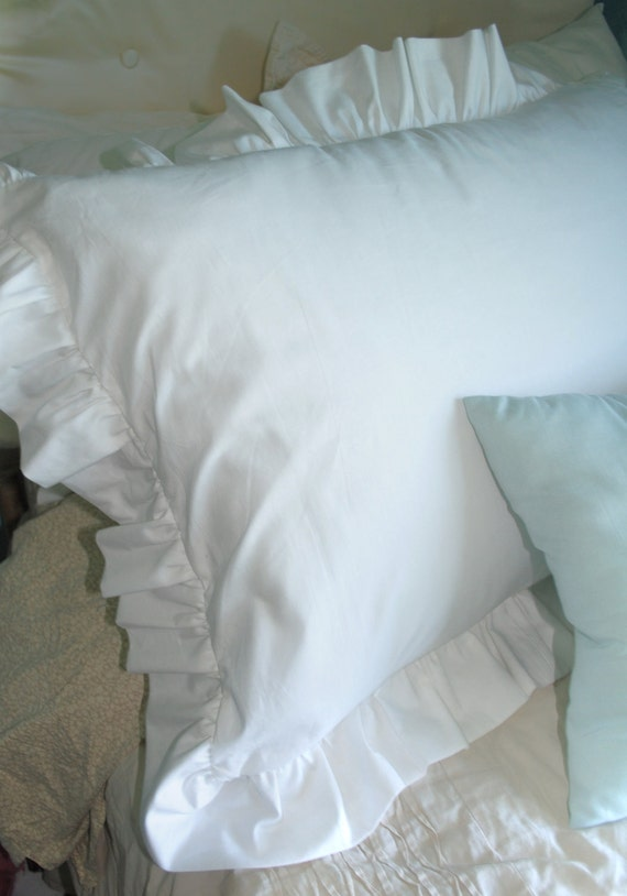 White Ruffle Pillow Case