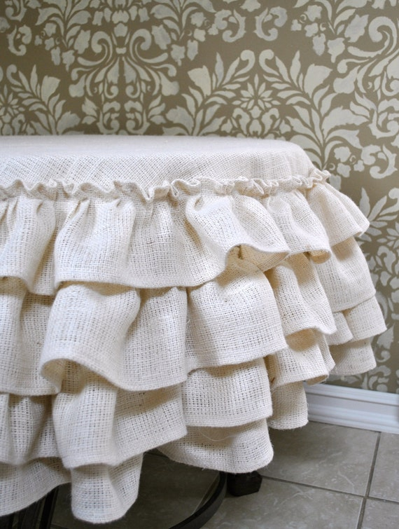 Ivory Burlap Tablecloth