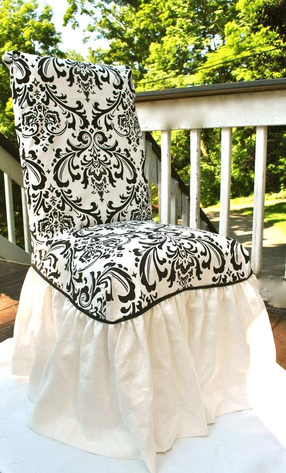 Black Damask Chair Slipcover