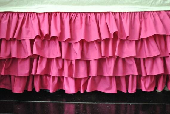 Magenta Ruffle Crib Skirt