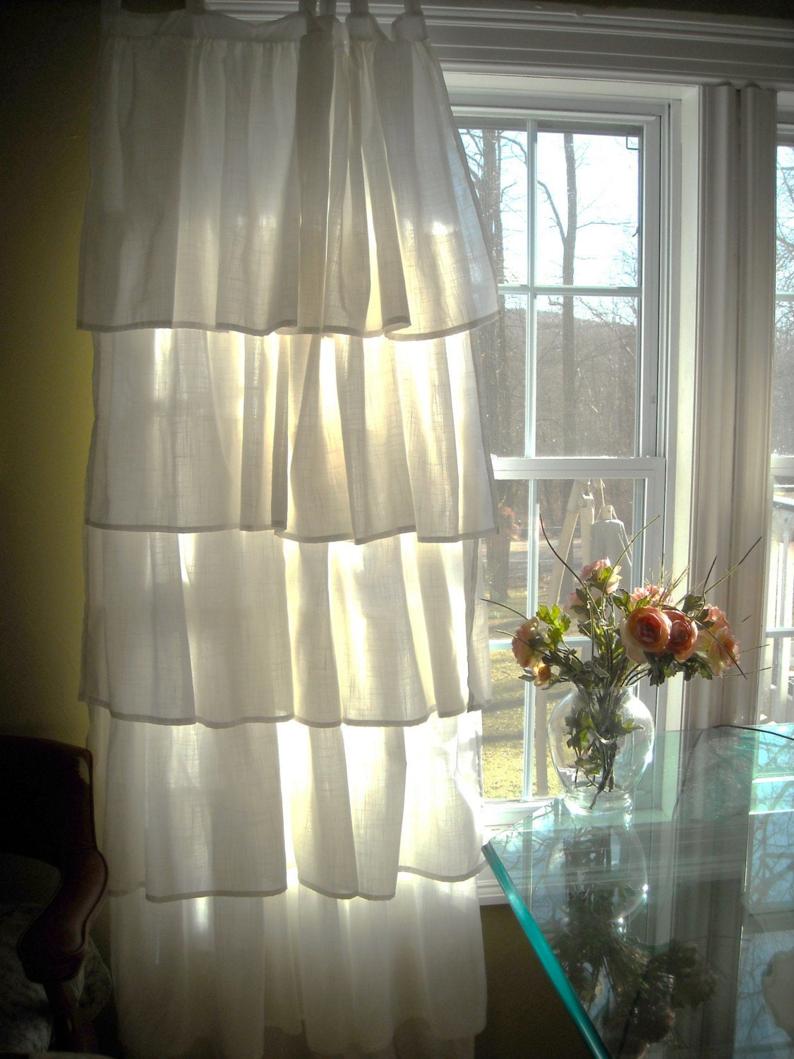 White ruffled curtains by paulaanderika on etsy