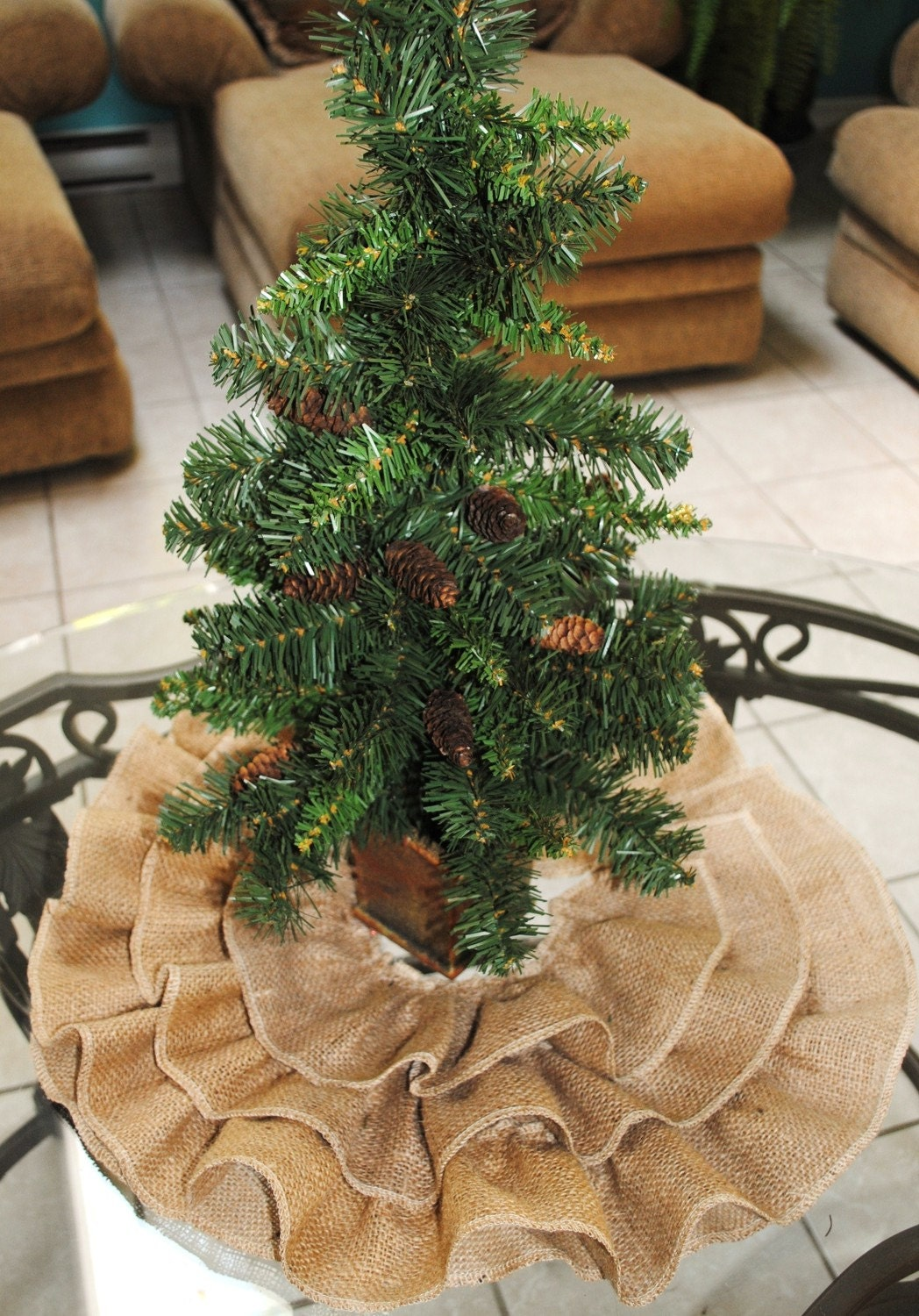 Burlap Ruffled Mini Tree Skirt by PaulaAndErika on Etsy