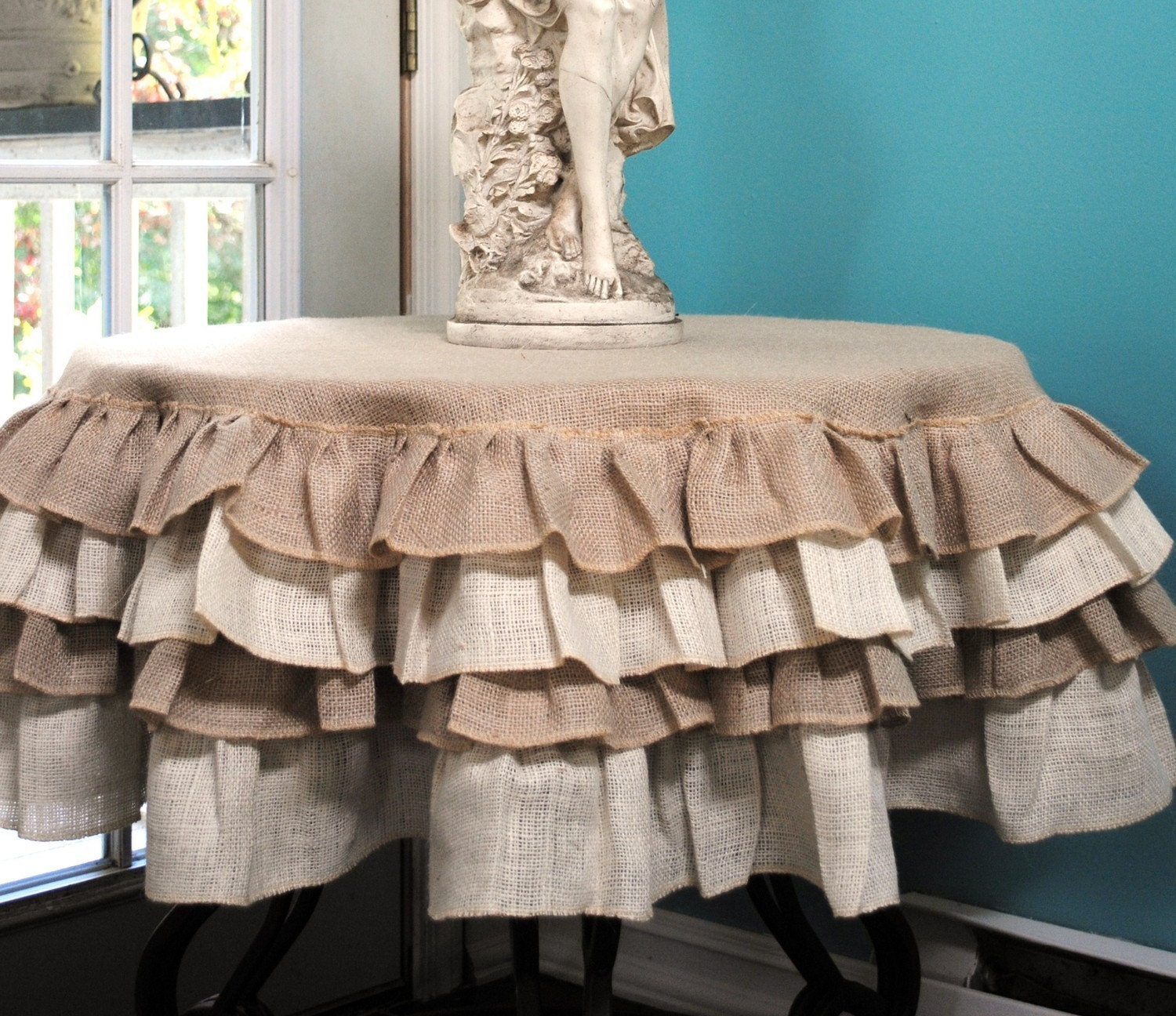 Ruffled Burlap Table Cloth by PaulaAndErika on Etsy