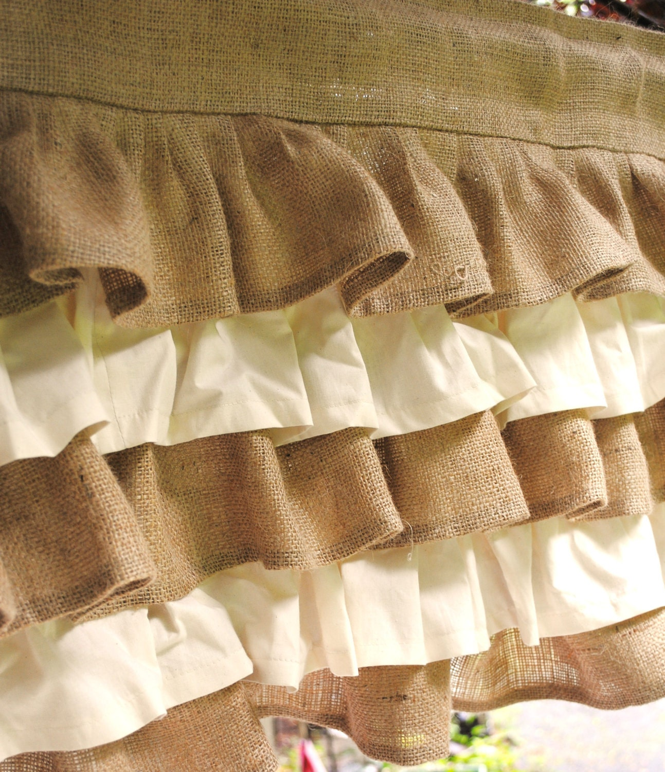 Cream and Natural Ruffled Burlap Valance by PaulaAndErika on Etsy