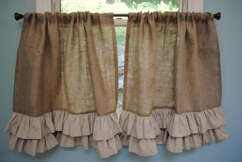 Burlap Ruffled Cafe Curtain by PaulaAndErika on Etsy