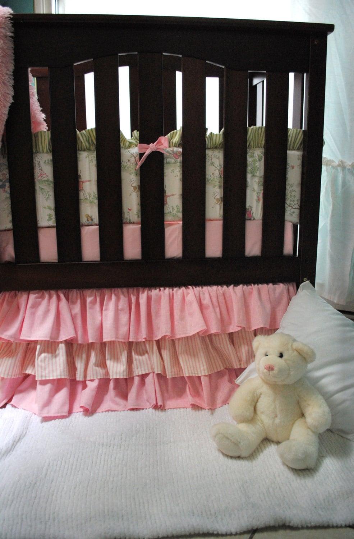 Ruffled Stripes And Pink Crib Skirt By Paulaanderika On Etsy