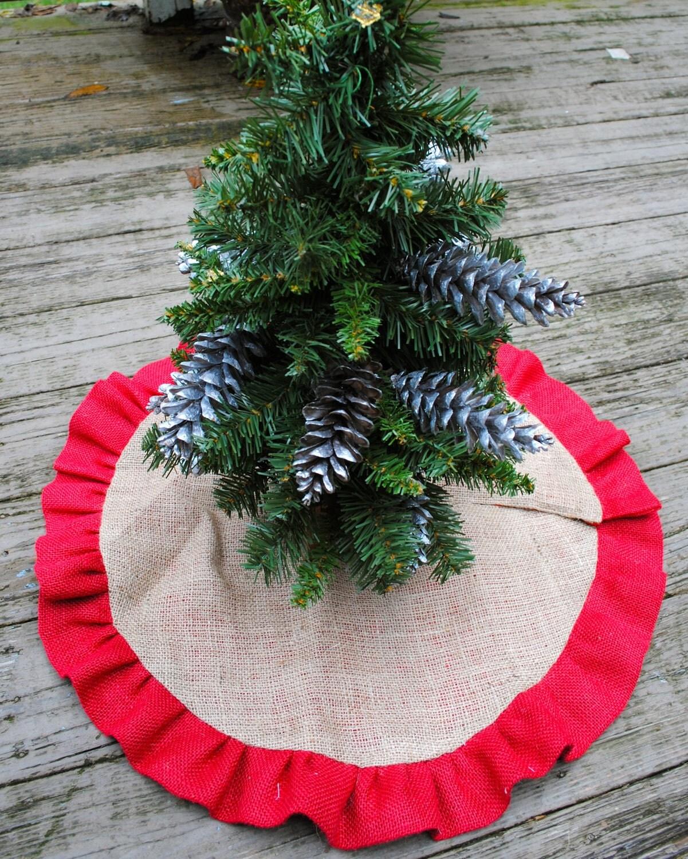 Burlap And Red Christmas Tree: Christmas Burlap Tree Skirt With Red Ruffle Trim