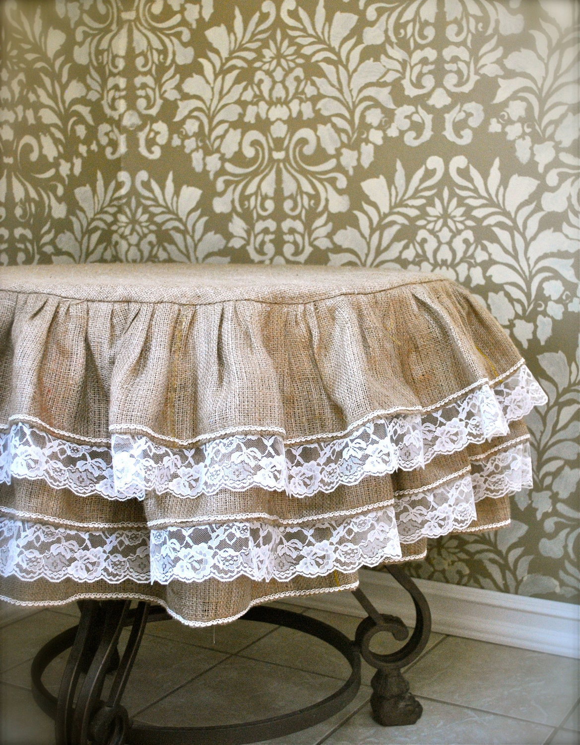 Burlap And Lace Ruffle Tablecloth