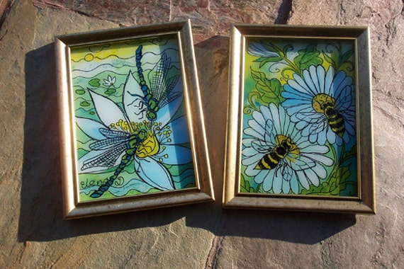 Set of Two Glass Paintings, Two Dragonflies and Daisies with Bees