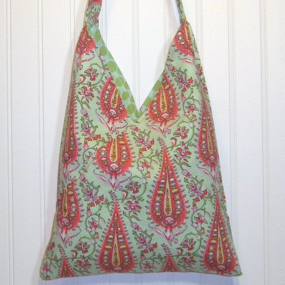Medium Cotton Purse, Cotton Shoulder Bag, FULLY REVERSIBLE, Paisley Print Tote, Cotton Fabric, Mint Polka Dots, Orange, Yellow, CLEARANCE