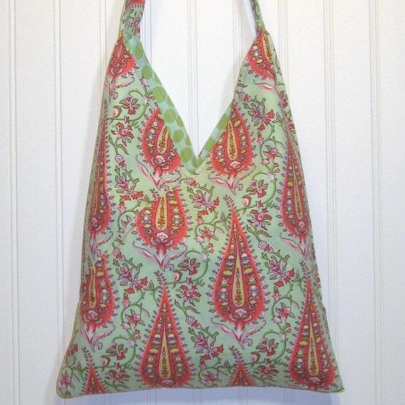 Medium Cotton Purse, Cotton Shoulder Bag, FULLY REVERSIBLE, Paisley Print Tote, Cotton Fabric, Mint Polka Dots, Orange, Yellow, CLEARANCE