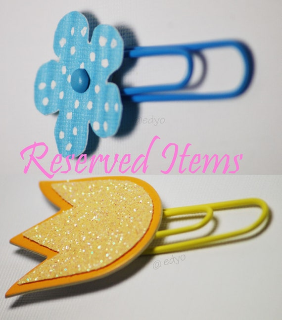 Reserved Items for   2 blue flower clips and 2 yellow tulip clips