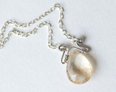 Citrine faceted drop pendant, on sterling silver necklace, handmade in Israel