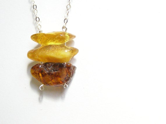 Baltic amber necklace minimalistic simple natural raw amber jewelry handmade in Israel