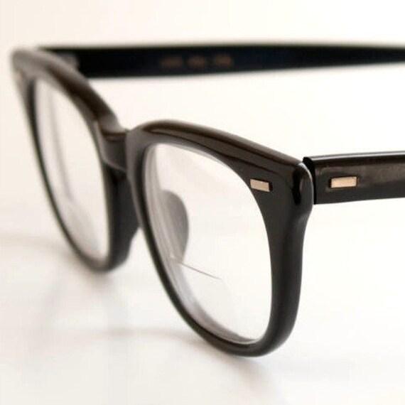 Vintage USS Black Horn Rim BCG Eyeglasses Frame 48-20 by ...