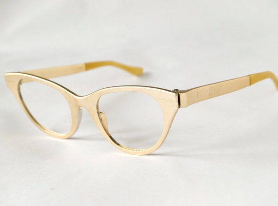 Vintage 1950s Gold Metallic Cat Eye Glasses Frame - Tura 46-23