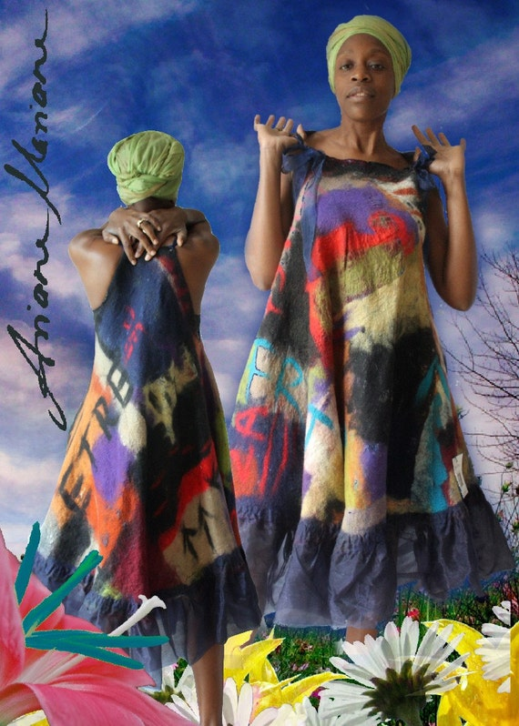 Custom made fiber art women dress - convertible women clothing - ooak art to wear high fashion