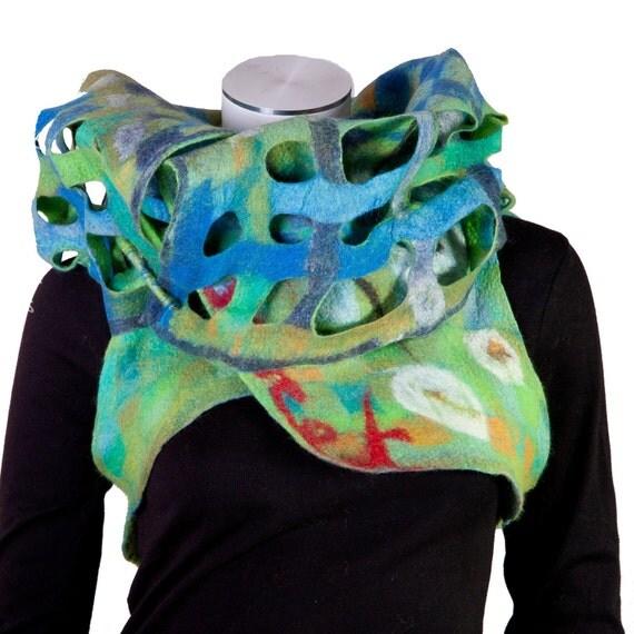 Reserved for Héloise : Whimsy felted fiber art bolero women , arty shrug , reversible vest , sustainable