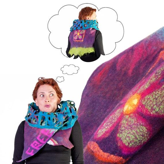 Felted Merino Wool Vest, Convertible Womens Vest, Boho Chic Clothing