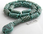 Snake Turquoise Brown Czech Glass Beads 10-inch Strand
