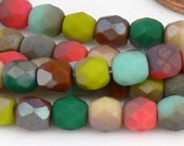 4mm Fire Polished Mixed Matte Celsian Czech Glass Beads 50 - Pls use sale coupon SIMPLY12