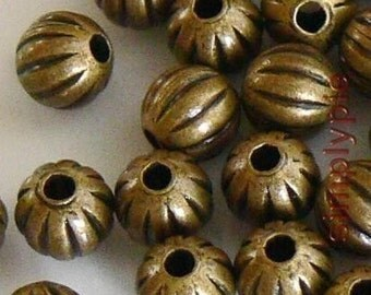 Corrugated Round Antiqued Brass Metal Beads 4mm 50