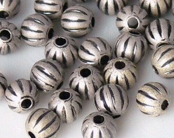 Antiqued Silver Round Corrugated Beads 4mm 50 Brass Metal Beads