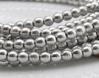 20% OFF Silver Round Czech Glass Beads 3mm Druk 50 Use Coupon Code TAKE20