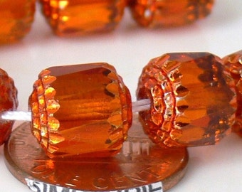 10mm Cathedral TANGERINE AB Czech Glass Beads 4