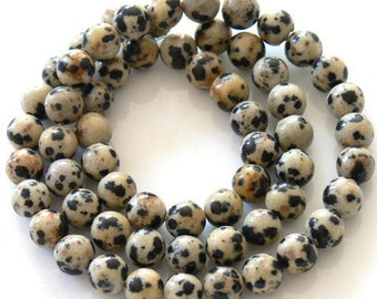 Dalmatian Jasper Gemstone  Beads 6mm Round Full Strand