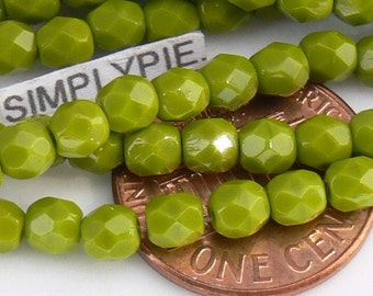 Avocado, Czech Beads Fire Polished 4mm 50 Faceted Round GLass