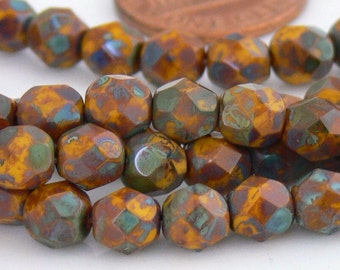 Sunflower Picasso, Czech Beads Fire Polished 6mm 25 Faceted Round GLass