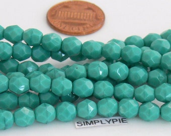 Persian Turquoise, Czech Beads Fire Polished 6mm 25 Faceted Round GLass