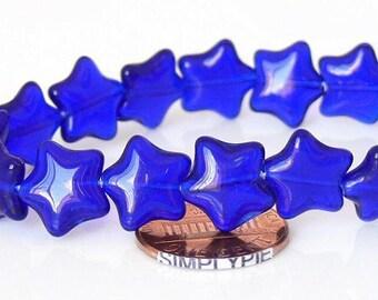 Cobalt Star Czech Glass Beads 12mm - 12
