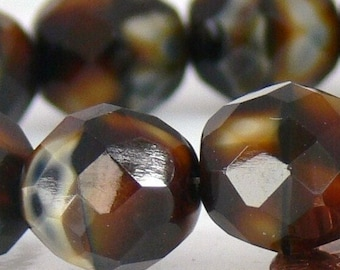 Tiger Black Brown Czech Fire Polished 10mm 12 Faceted Round Swirls