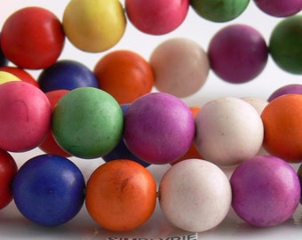 12mm Round Multi-Colored Magnesite Gemstone beads 12 Large Assorted Colors Mix