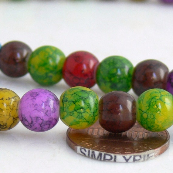 8mm Round Jewel Colors Glass Beads 25 - Pls use sale coupon and save.