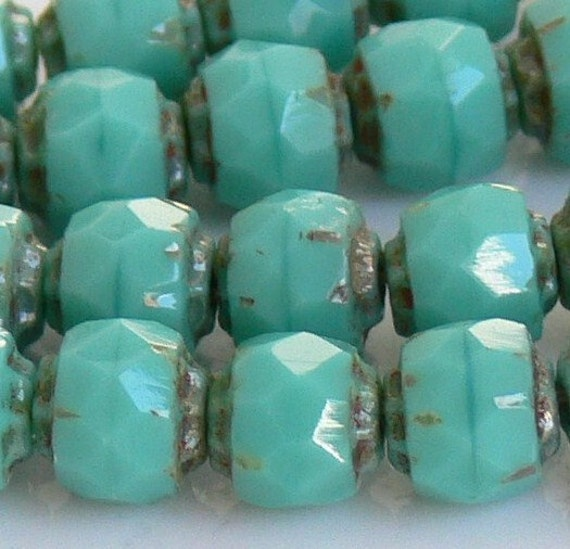 Turquoise Picasso Czech Beads, Renaissance 6mm 25 Cathedral Faceted Glass