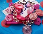 CandyFloss and Bubblegum Button Bracelet
