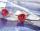 Pretty Red Rose Earrings
