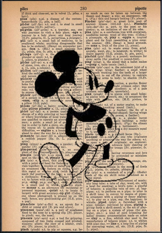 Classic Mickey Mouse Dictionary Art Print