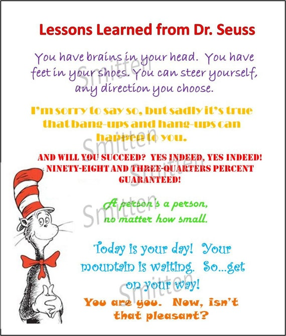 Dr Seuss Lessons Learned Colorful Quotes on Activities For The Foot Book By Dr Suess
