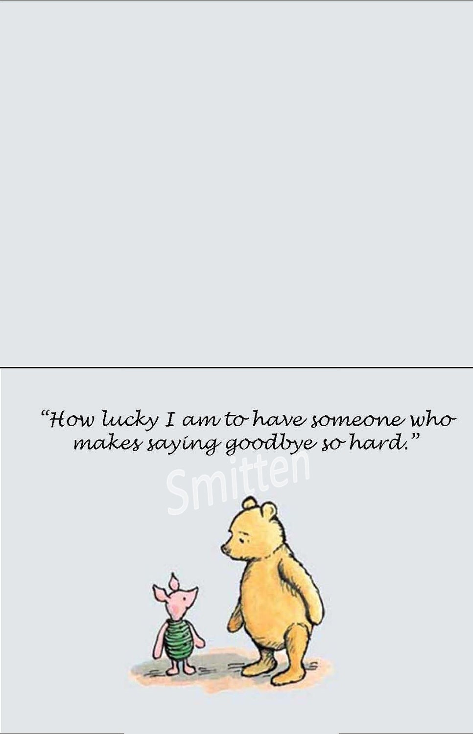 Pooh Quote About Saying Goodbye: Winne The Pooh And Piglet Quote Art Notecard By