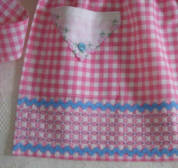 Child's Gingham Apron with Hand Embroidered Border, Vintage Materials