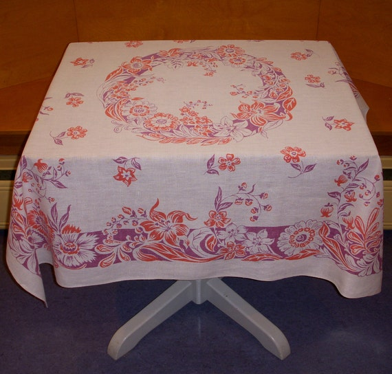 Gorgeous Vintage Linen Tablecloth, Red and Purple Floral Print, 1930s or 1940s