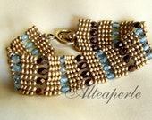 Light blue, bronze and gold herringbone bracelet