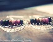 Watermelon Tourmaline Chandelier Earrings. Ethnic Jewelry