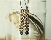 ON SALE. Woven Brass Bead Green Tourmaline Earrings