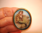 Vintage Jewelry Lady Wait for Her Lover at Sea Brooch KL Design
